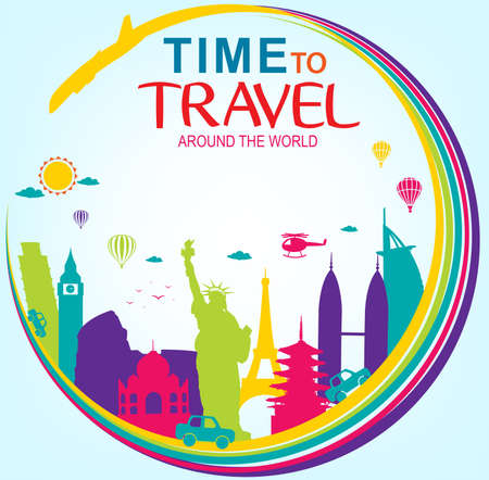 flavian: Full Vector Time to Travel Around the World with Colorful Worlds Famous Landmarks on Blue Background