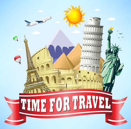 Tempo di viaggio per Red Ribbon con monumenti famosi del mondo Vettoriali