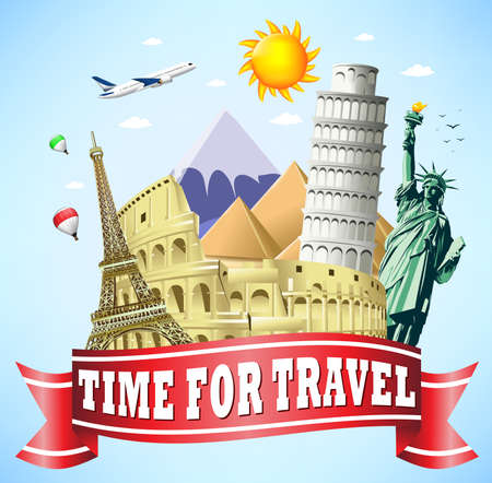 colliseum: Time to Travel Red Ribbon with Famous Landmarks of the World