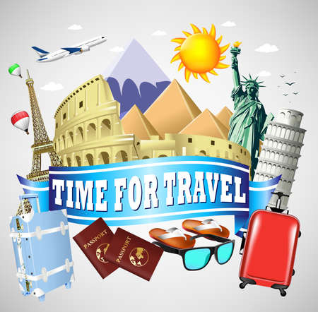 Time to Travel Blue Ribbon with famous Landmarks and Travel Objects Illustration