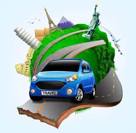 colliseum: Vector Small Green Planet with Blue Travel Car together with Plane and Worlds Famous Landmarks