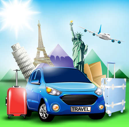 Blue Travel Car together with Plane and World's Famous Landmarks with Mountains on the Background Illusztráció