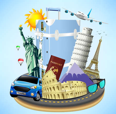 colliseum: Road Island with Travel Objects and Worlds Well Known Landmarks