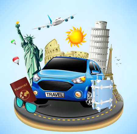 colliseum: Worlds Well Known Landmarks on a Road Island with Travel Objects