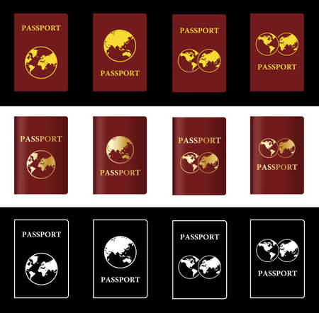 credential: Four Different Vector Maroon Passport with Globe Illustration