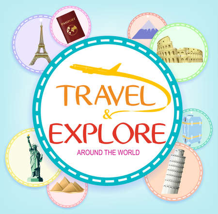 flavian: Travel and Explore Around the World in Circles with Worlds Popular Landmarks on Blue Background