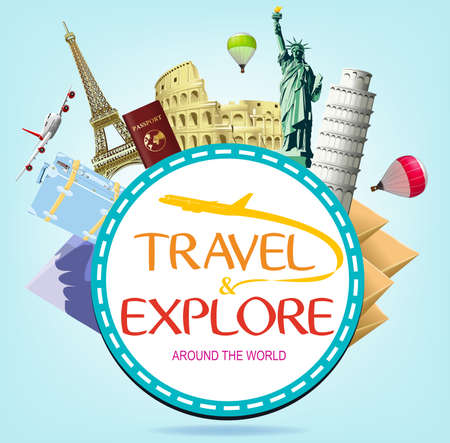 flavian: Travel and Explore Around the World Typography with Popular Landmarks and Travel Objects