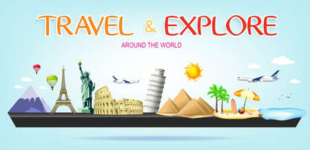 colliseum: Travel and Explore Around the World Miniature Landscape with Famous Landmarks of the world on Blue Background Illustration