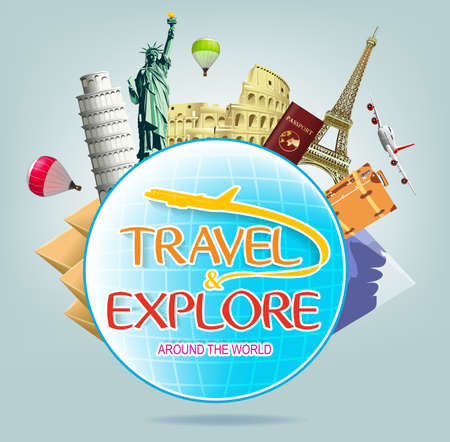 flavian: Travel and Explore Around the World with Globe and Iconic Landmarks and Travel Objects Illustration
