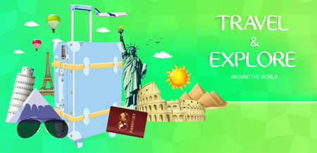 flavian: Travel and Explore Around the World Design with Famous Landmarks and Travel Objects on Green Background