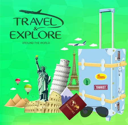 flavian: Vector Travel and Explore Around the World with Travel Objects and Transportation with Famous Landmarks of the World on Green Background Illustration