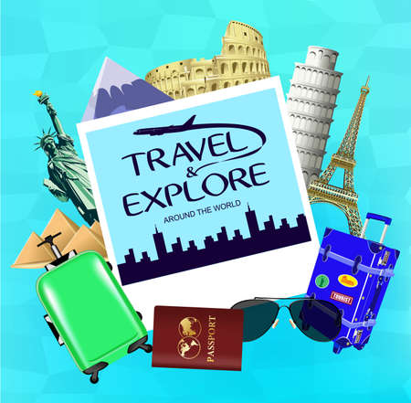Vector Travel and Explore Around the World with Picture and Travel Objects with Famous Landmarks of the World on Blue Background