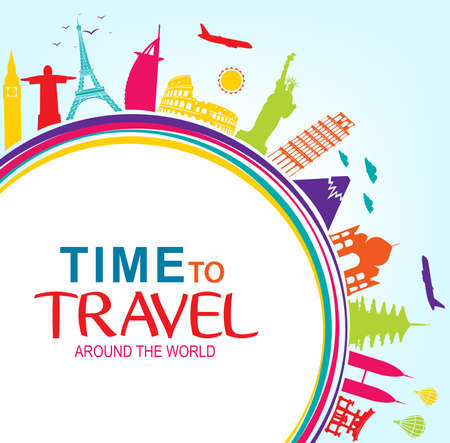 flavian: Colorful Time to Travel Around the World with Space for text Vector Pop Art Illustration