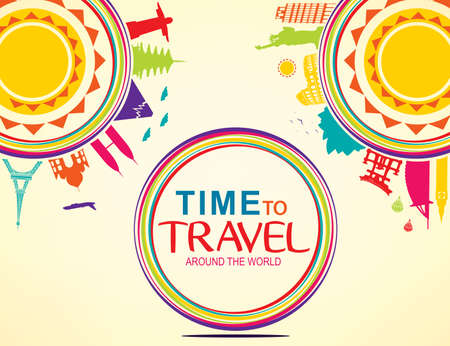 flavian: Time to Travel Around the World Colorful Vector Pop Art with Space for Text Illustration