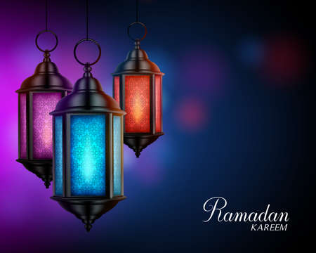 Ramadan Kareem Greetings with Colorful Set of Lanterns or Fanous in a Dark Glowing Background. 3D Realistic Vector Illustration