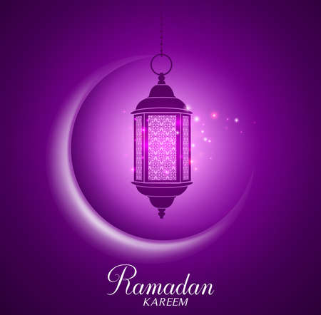 sky lantern: Vector Crescent Moon and Lantern Lightning in Dark Background with Ramadan Kareem Greetings. Silhouette Vector Illustration Illustration