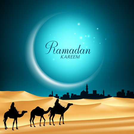 Ramadan Kareem Moon Background in the Night with Camels Riding in the Desert Sand Going to the Middle East City for the Holy Month. Vector Illustration