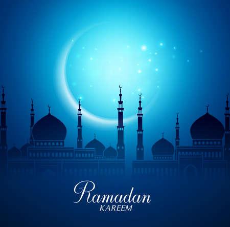 Crescent Moon e la Moschea Silhouette in the Night luminoso per il Ramadan Kareem Sfondo. illustrazione vettoriale