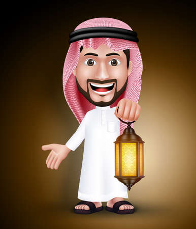 thobe: Saudi Arab Man Wearing Thobe Holding Lantern in the Night for the Muslim Holy Month of Ramadan. Vector Illustration