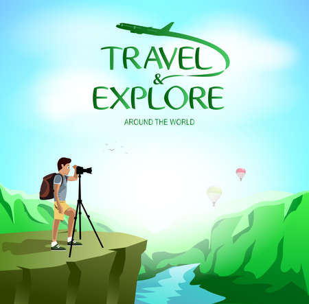 taking picture: Travel and Explore Around The World with Man Traveler Taking Picture on The Cliff. Vector Illustration Illustration