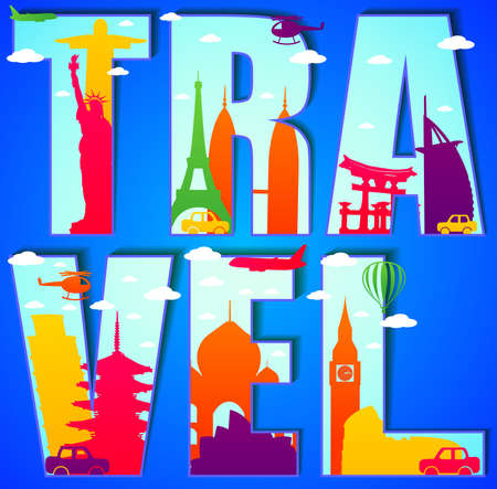 miyajima: Vector Travel Text Concept with Famous Landmarks and Travel Objects