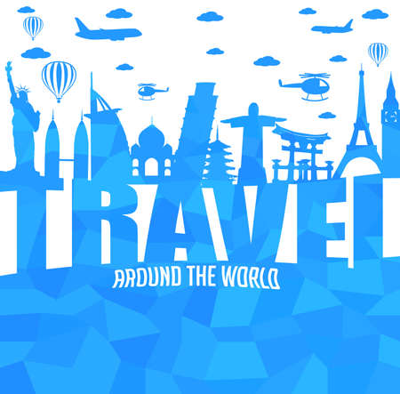 Travel Around the World Text with Famous Landmarks and Travel Objects in Abstract. Vector Illustration