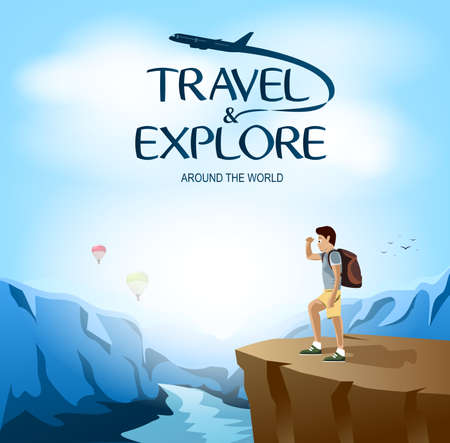 man looking: Travel and Explore Around The World with Traveler Man Site Seeing on The Cliff. Vector Illustration