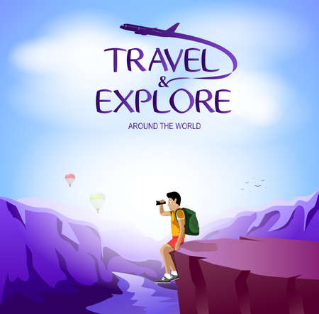 Travel and Explore Around The World with Man Traveler Sitting on The Cliff. Vector Illustration