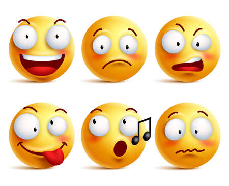Smiley face icons or emoticons with set of different facial expressions in glossy 3D realistic isolated in white background. Vector illustration Ilustração