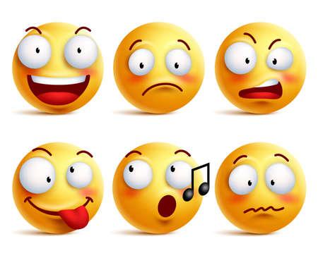 Smiley ikony emotikony twarz lub z zestawem różnych mimiki w błyszczącym 3D realistyczne samodzielnie w białym tle. ilustracji wektorowych Ilustracje wektorowe
