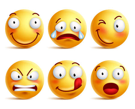 smileys: Set of smiley face icons or yellow emoticons with different facial expressions in glossy 3D realistic isolated in white background. Vector illustration