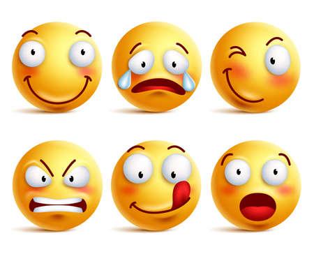 Set van smiley pictogrammen of gele emoticons met verschillende gezichtsuitdrukkingen in glanzend 3D realistische geïsoleerd in een witte achtergrond. vector illustratie