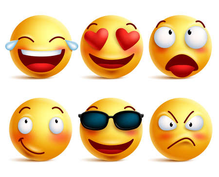 emoticons: Smiley face icons or yellow emoticons with emotional funny faces in glossy 3D realistic isolated in white background. Vector illustration