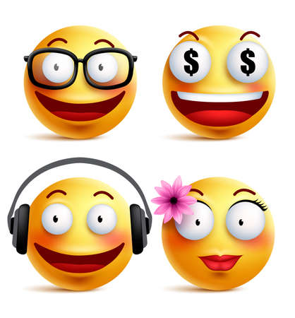 Emoji yellow emoticons or smiley faces collection with funny emotions in glossy 3D realistic isolated in white background. Vector illustration