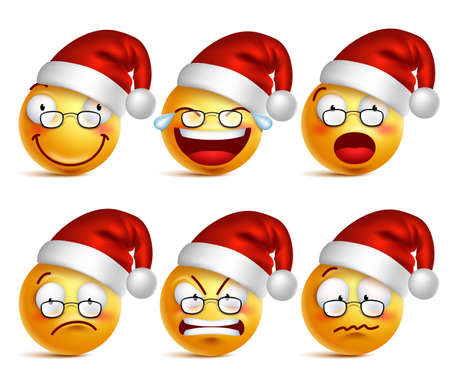 Smiley face of santa claus yellow emoticons with set of facial expressions for christmas in glossy 3D realistic isolated in white background. Vector illustration Illustration