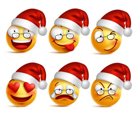emoticons: Set of Smiley face of santa claus yellow emoticons with facial expressions and christmas hat in glossy 3D realistic isolated in white background. Vector illustration