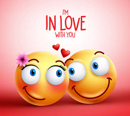 Smiley face couple or lovers being in love facial expressions with floating hearts for valentines vector illustration