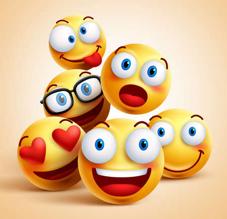 Smiley faces group of vector emoticon characters with funny facial expressions. 3D realistic vector illustration Stock Illustratie