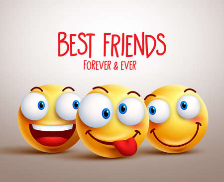 Best friends smiley face vector design concept with funny facial expressions. 3D realistic vector illustration