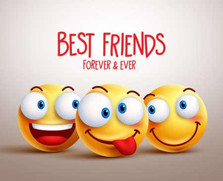Beste Freunde Smiley-Gesicht Vektor-Design-Konzept mit lustigen Gesichtsausdrücken. 3D-realistische Vektor-Illustration