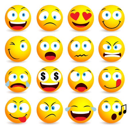 Smiley face and emoticon simple set with facial expressions isolated in white background. Vector illustration Vettoriali