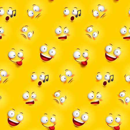Seamless smiley face pattern with funny facial expressions in continuous yellow background. Vector illustration Ilustracja