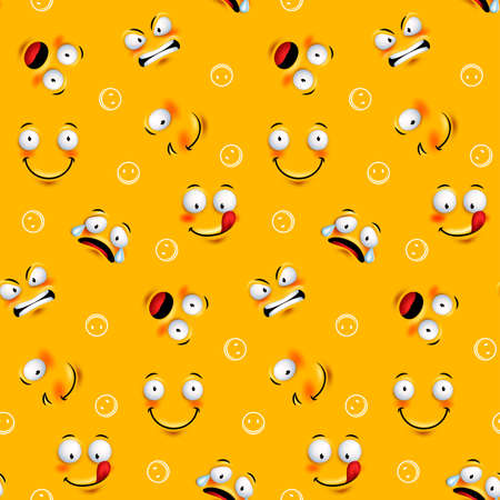 Smiley pattern avec des expressions drôles visage en arrière-plan orange continue. Vector illustration