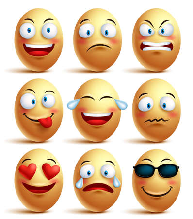 Vector egg face set of emoticons with emotions and facial expressions isolated in white background. Vector illustration