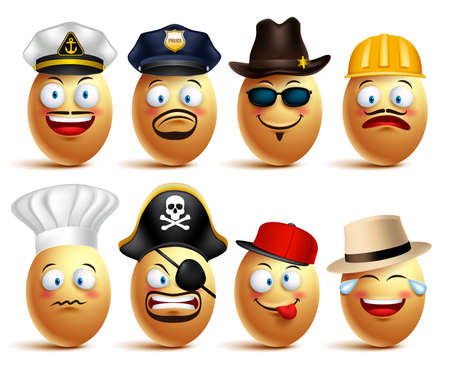 Set of vector egg faces of professionals with caps in emotions and facial expressions isolated in white background. Vector illustration Vettoriali