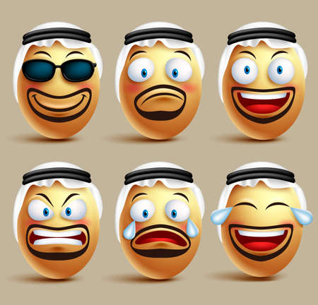 agal: Vector saudi arab man egg faces set wearing agal and ghutrah or head dress with facial expressions and emotions as an emoticons isolated in white background. Vector illustration