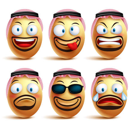 arabian: Saudi arab man egg faces set of vector wearing agal and ghutrah or head dress with facial expressions and emotions as an emoticons isolated in white background. Vector illustration Illustration