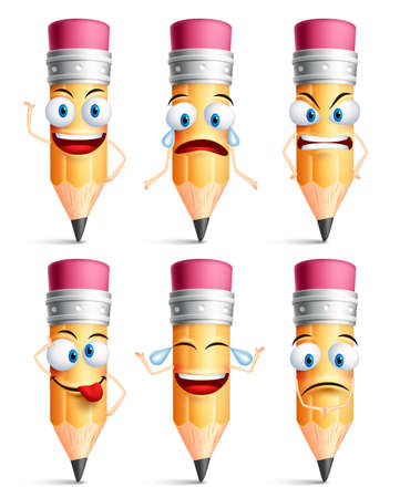 facial gestures: Pencil character facial expressions, emotions and hand gestures isolated in white background. Colorful pencil set in vector illustration. Illustration