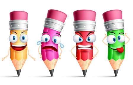 Vector pencil character or mascot colorful set with facial expressions, emotions and hand gestures isolated in white background. Vector illustration. Illustration