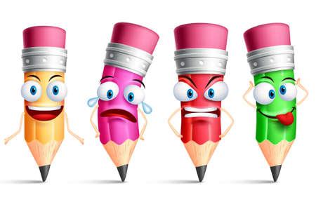 Vector de caracteres lápiz o mascota coloridas conjunto con las expresiones faciales, las emociones y los gestos de las manos aisladas en fondo blanco. Ilustración del vector. Ilustración de vector